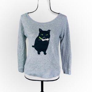 Peter Jensen Gray Crewneck Black Cat Sweatshirt